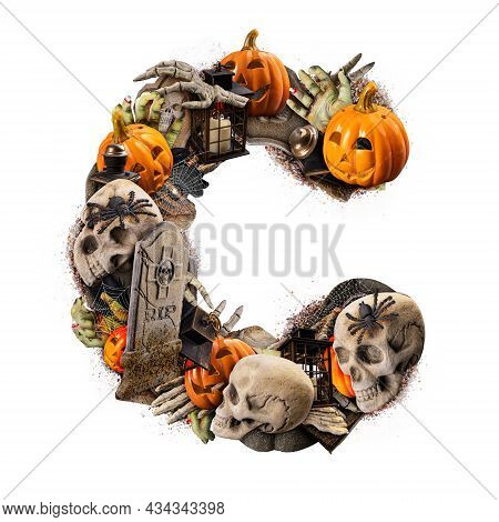 Letter C Made Of Variety Halloween Objects Isolated On White Background