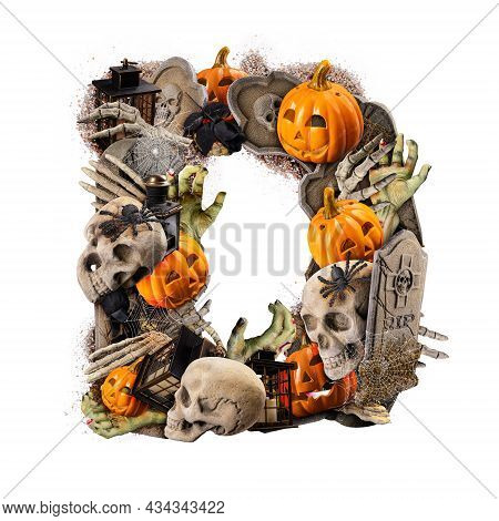 Letter D Made Of Variety Halloween Objects Isolated On White Background