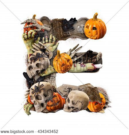 Letter E Made Of Variety Halloween Objects Isolated On White Background