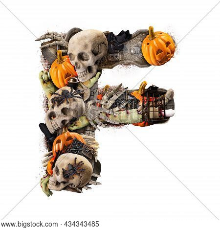 Letter F Made Of Variety Halloween Objects Isolated On White Background