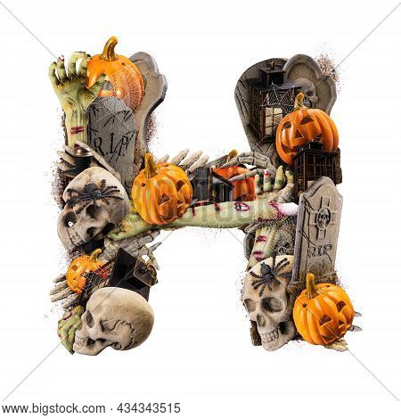 Letter H Made Of Variety Halloween Objects Isolated On White Background
