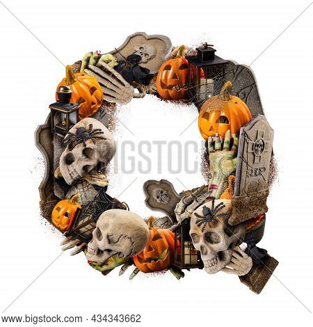 Letter Q Made Of Variety Halloween Objects Isolated On White Background