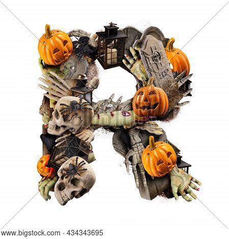 Letter R Made Of Variety Halloween Objects Isolated On White Background