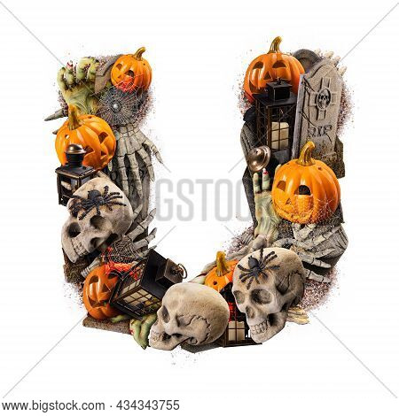 Letter U Made Of Variety Halloween Objects Isolated On White Background