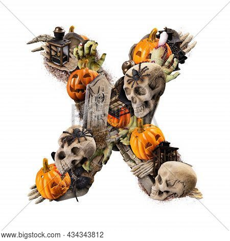 Letter X Made Of Variety Halloween Objects Isolated On White Background