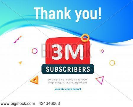 3000000 Followers Vector Post 3m Celebration. Three Millions Subscribers Followers Thank You Congrat