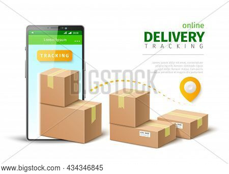 Parcel Delivery Tracking App. Realistic Smartphone With Cardboard Post Containers. Online Mobile App