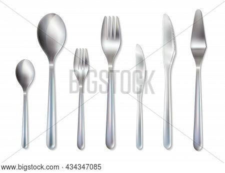 Reception Dinner Cutlery Set With Spoons Knives And Forks For Main Dish And Dessert Realistic Vector