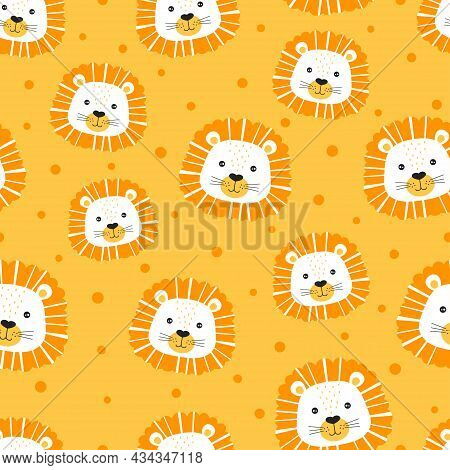 Muzzle Of Lions In Scandinavian Style, Colorful Seamless Pattern With Muzzles Of Animals Isolated On