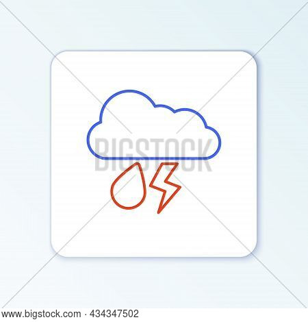 Line Cloud With Rain And Lightning Icon Isolated On White Background. Rain Cloud Precipitation With