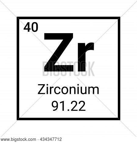 Zirconium Chemistry Element Icon Symbol. Chemical Education Zirconium Atom Sign