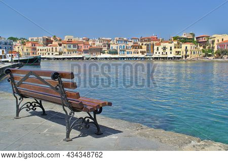 Chania, Greece - June 28, 2021: Beautiful View From The Embankment To The Old Town
