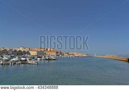 Beautiful View From The Embankment To The Old Town Of Chania In Greece