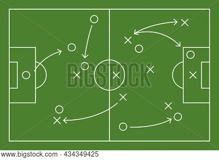 Soccer Field Strategy Game Tactic Football Vector Board Game Plan. Soccer Team Strategy