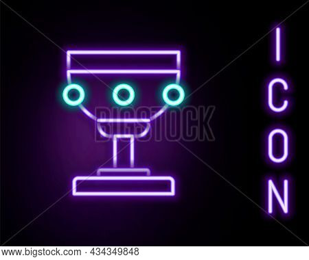 Glowing Neon Line Christian Chalice Icon Isolated On Black Background. Christianity Icon. Happy East