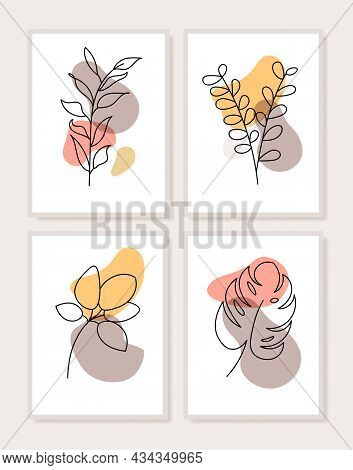 Abstract Contemporary Flower Minimal Modern Vector Design. Minimal Abstract Flower Collection Leaf