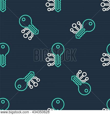 Line Cryptocurrency Key Icon Isolated Seamless Pattern On Black Background. Concept Of Cyber Securit