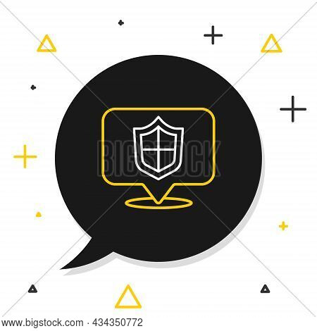 Line Location Shield Icon Isolated On White Background. Insurance Concept. Guard Sign. Security, Saf