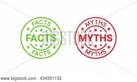 Fact Myth Grunge Rubber Stamps, Badges. Vector Illustration. Truth Or False Textured Emblems. Red Gr