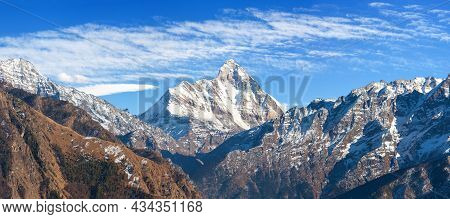 Mount Nanda Devi With Beautiful Sky, One Of The Best Mounts In Indian Himalaya, Seen From Joshimath