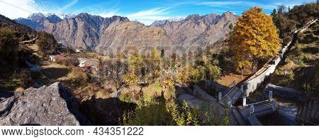 Himalaya, Autumnal View From Joshimath Town, Panoramic View Of Indian Himalayas Mountains, Great Him