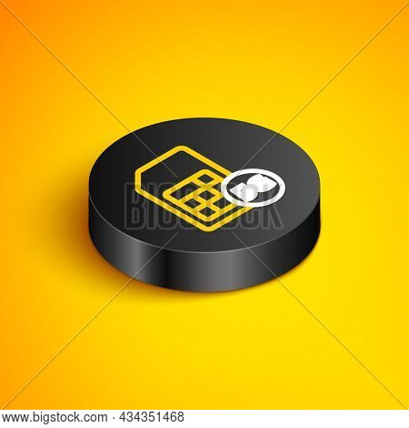 Isometric Line 5g Sim Card Icon Isolated On Yellow Background. Mobile And Wireless Communication Tec