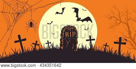 Halloween Banner With Tombstone. Orange Halloween Background With Gravestone And Moon. Bats On Cemet