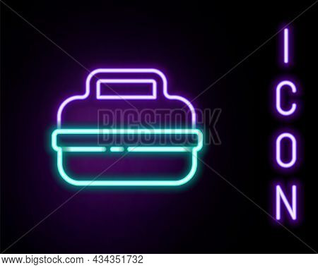 Glowing Neon Line Cooking Pot Icon Isolated On Black Background. Boil Or Stew Food Symbol. Colorful