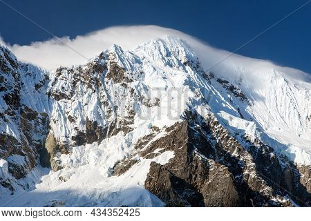 View Of Mount Salkantay Or Salcantay Trek In The Way To Machu Picchu, Andes Mountains, Cusco Or Cuzc
