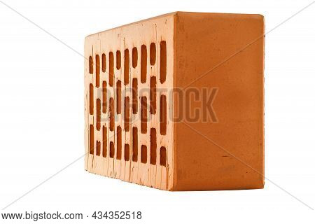 Perforated Red Brick Isolated On White Background In Rowlock Perspective