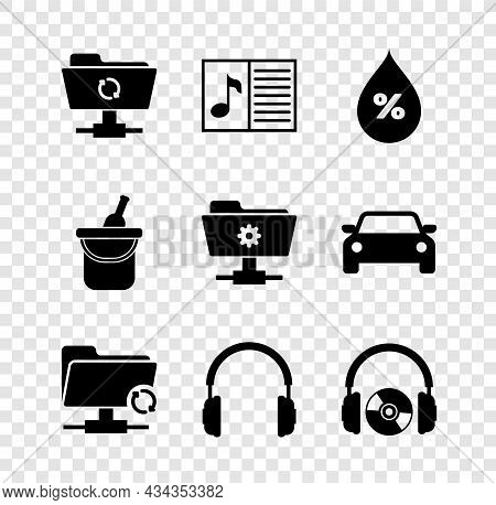 Set Ftp Sync Refresh, Music Book With Note, Water Drop Percentage, , Headphones And And Cd Or Dvd Ic