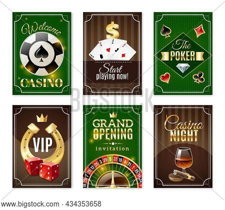 Casino Cards Back 6 Mini Posters Banners Set With  Red Dice And Gold Horseshoe Isolated Vector Illus