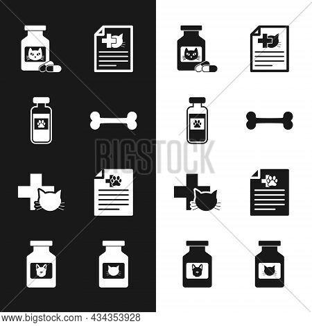 Set Dog Bone, Pets Vial Medical, Cat Medicine Bottle And Pills, Medical Certificate For Dog Or Cat,