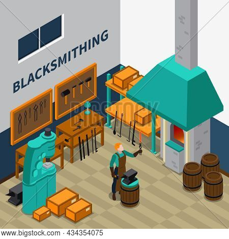 Blacksmith Forging Wrought Iron On Anvil Isometric Poster With Smith Shop Tools Materials And Machin