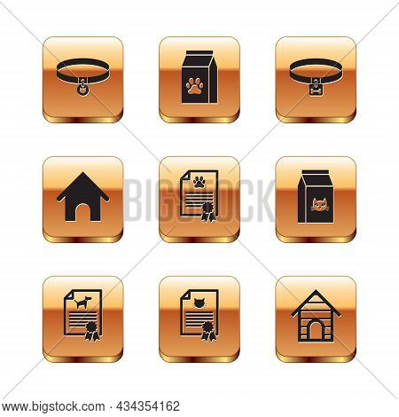 Set Cat Collar, Certificate For Dog Or Cat, , , Dog House And Icon. Vector