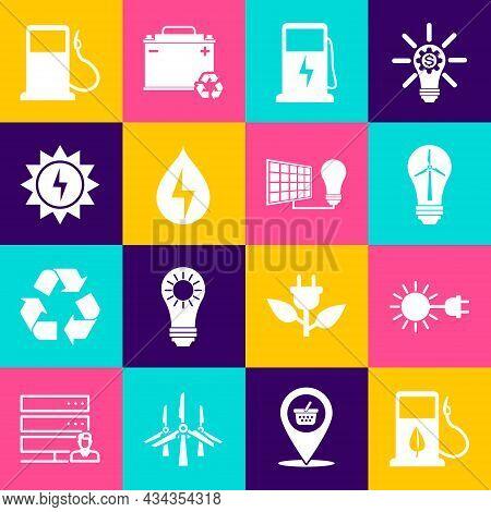 Set Bio Fuel With Fueling Nozzle, Sun Electric Plug, Light Bulb Wind Turbine, Electric Car Charging