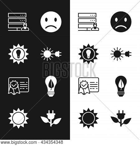 Set Sun With Electric Plug, Solar Energy Panel, Customer Care Server, Sad Smile, Certificate Templat