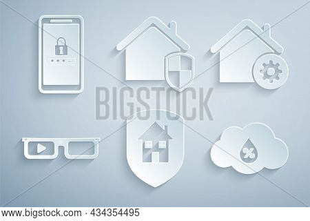 Set House Under Protection, Smart Home Settings, Glasses, Humidity, And Mobile And Password Icon. Ve
