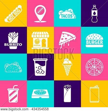 Set Aluminum Can, Pizza, Burger, Taco With Tortilla, Pizzeria Building Facade, Burrito, Hotdog Sandw
