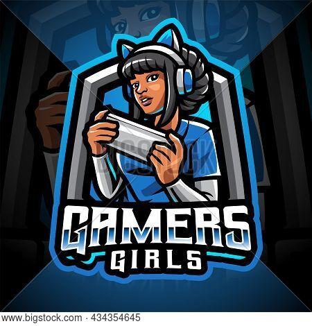 Gamer Girls Esport Mascot Logo With Text