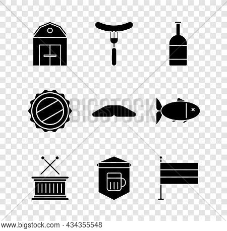 Set Farm House, Sausage On The Fork, Beer Bottle, Musical Drum And Sticks, Signboard With Glass Of B
