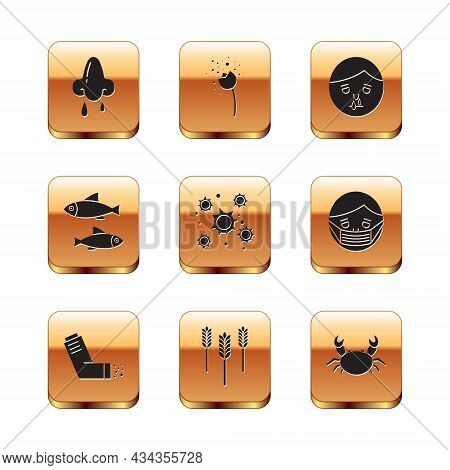 Set Runny Nose, Inhaler, Wheat, Bacteria, Fish, Crab And Flower Producing Pollen Icon. Vector