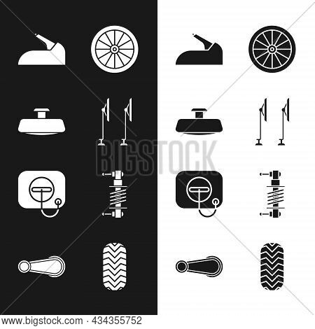 Set Windscreen Wiper, Car Mirror, Handbrake, Wheel, Oil Filler Cap At Gas Station, Shock Absorber, T