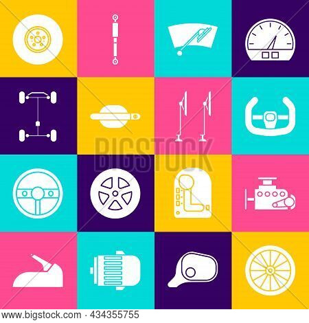 Set Car Wheel, Engine, Sport Steering, Windscreen Wiper, Door Handle, Chassis Car, Brake Disk And Ic