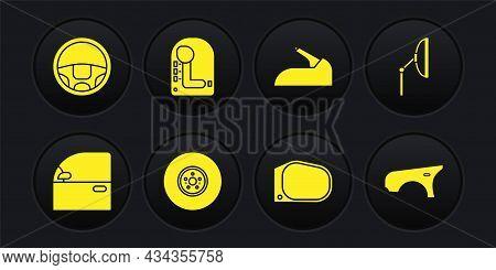 Set Car Door, Windscreen Wiper, Brake Disk, Mirror, Handbrake, Gear Shifter, Fender And Steering Whe