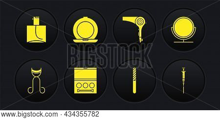 Set Eyelash Curler, Round Makeup Mirror, Shadow Palette, Nail File, Hair Dryer, Makeup Powder With,
