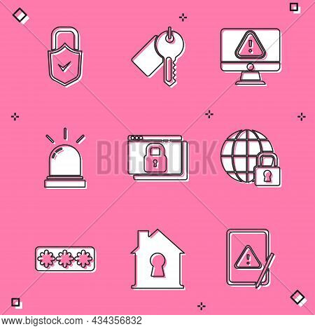 Set Lock And Check Mark, Marked Key, Monitor With Exclamation, Motion Sensor, Secure Your Site Https