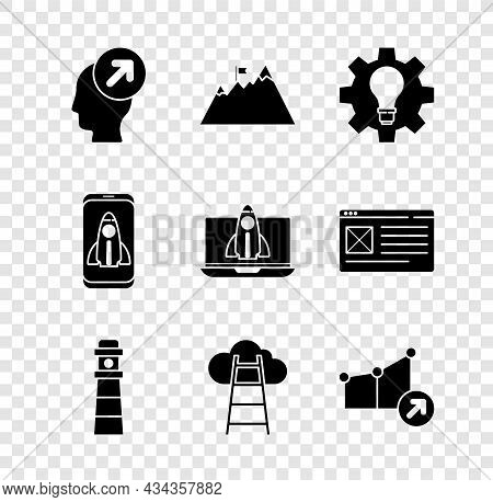 Set Head Hunting Concept, Mountains With Flag, Light Bulb And Gear, Lighthouse, Stair Finish, Financ