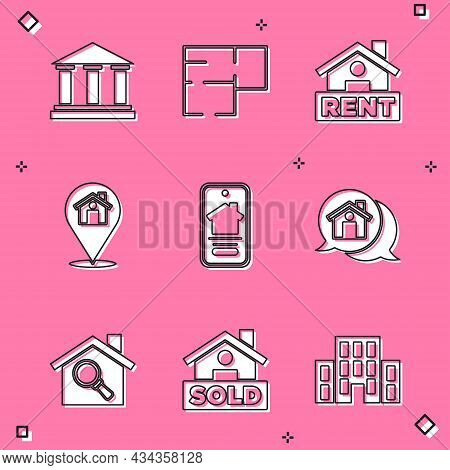 Set Museum Building, House Plan, Hanging Sign With Rent, Location House, Online Real Estate, Real Me