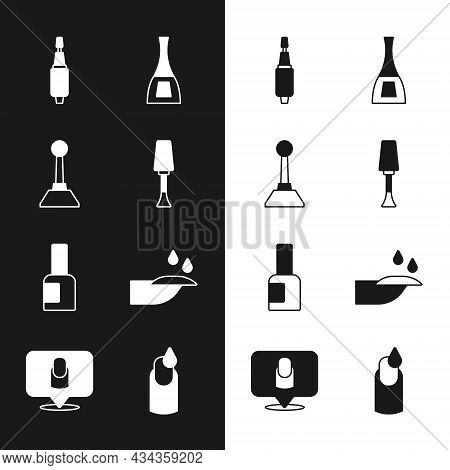 Set Nail Polish, Milling Cutter For Manicure, Bottle Of Nail, Manicure And Icon. Vector